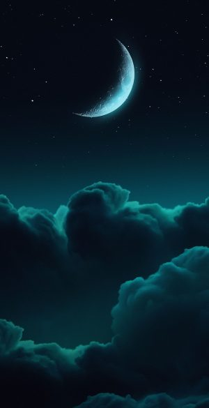 Clouds Moon Phone Wallpaper 300x585 - iPhone Black Wallpapers