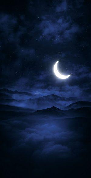 Moon Light Mountain Dark Phone Wallpaper 300x585 - 1080x2400 Wallpapers