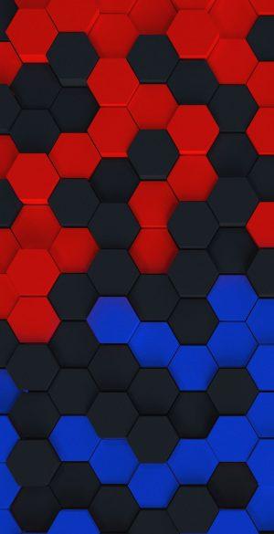 Red Balck Blue Hexa Phone Wallpaper 300x585 - iPhone Black Wallpapers