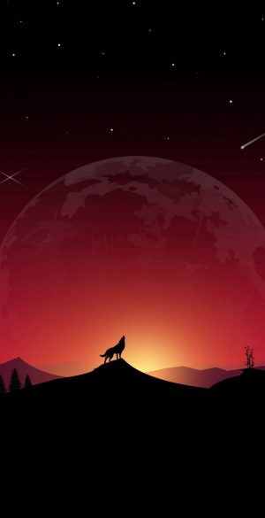 Red Sky and Wolf Wallpaper 300x585 - Realme 7 Pro Wallpapers