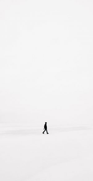 Man Alone White Wallpaper HD 300x585 - White iPhone Wallpapers