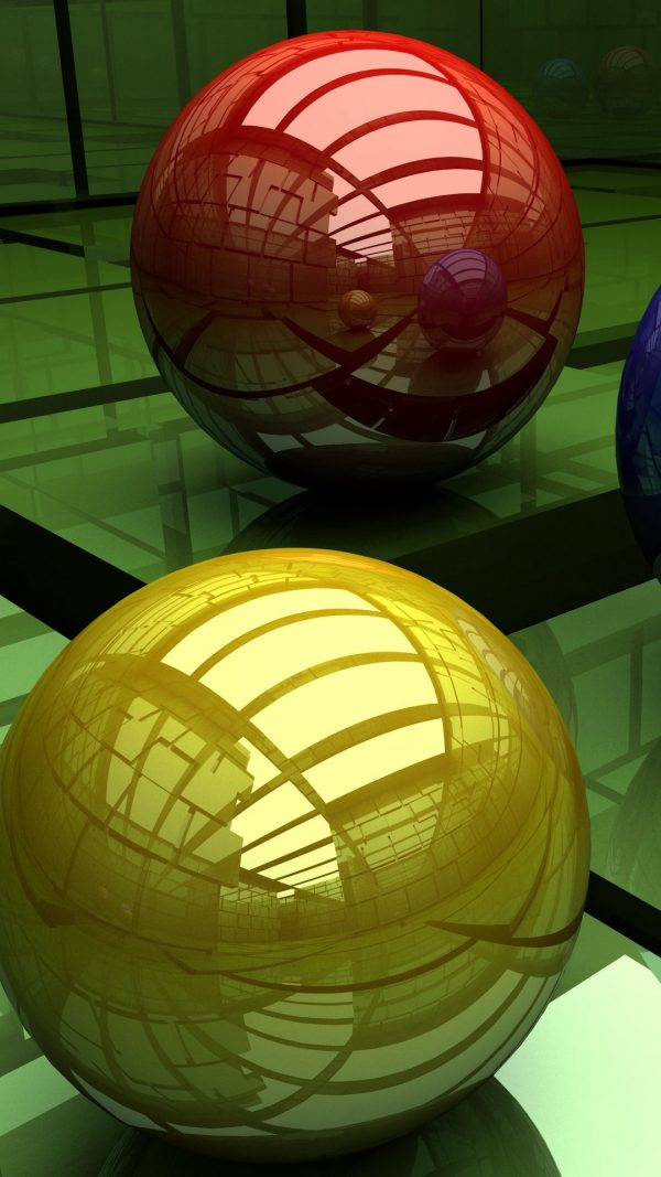 3D Balls Three Colored Surface Cubic HD Wallpaper 1080x1920 600x1067 - 3D Balls Three-Colored Surface Cubic HD Wallpaper - 1080x1920
