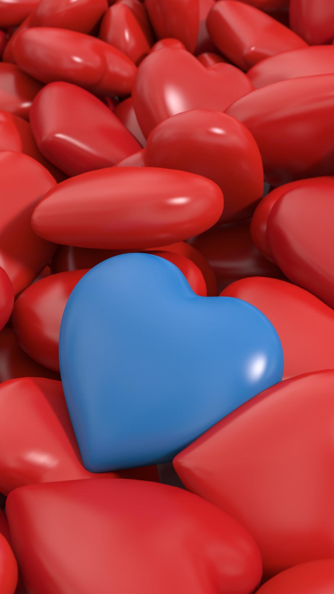 3d Heart Red Blue Hd Wallpaper 1080x1920