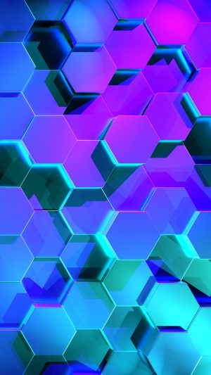 3D Hexagons Rendering Light HD Wallpaper 1080x1920 300x533 - 3D Wallpapers
