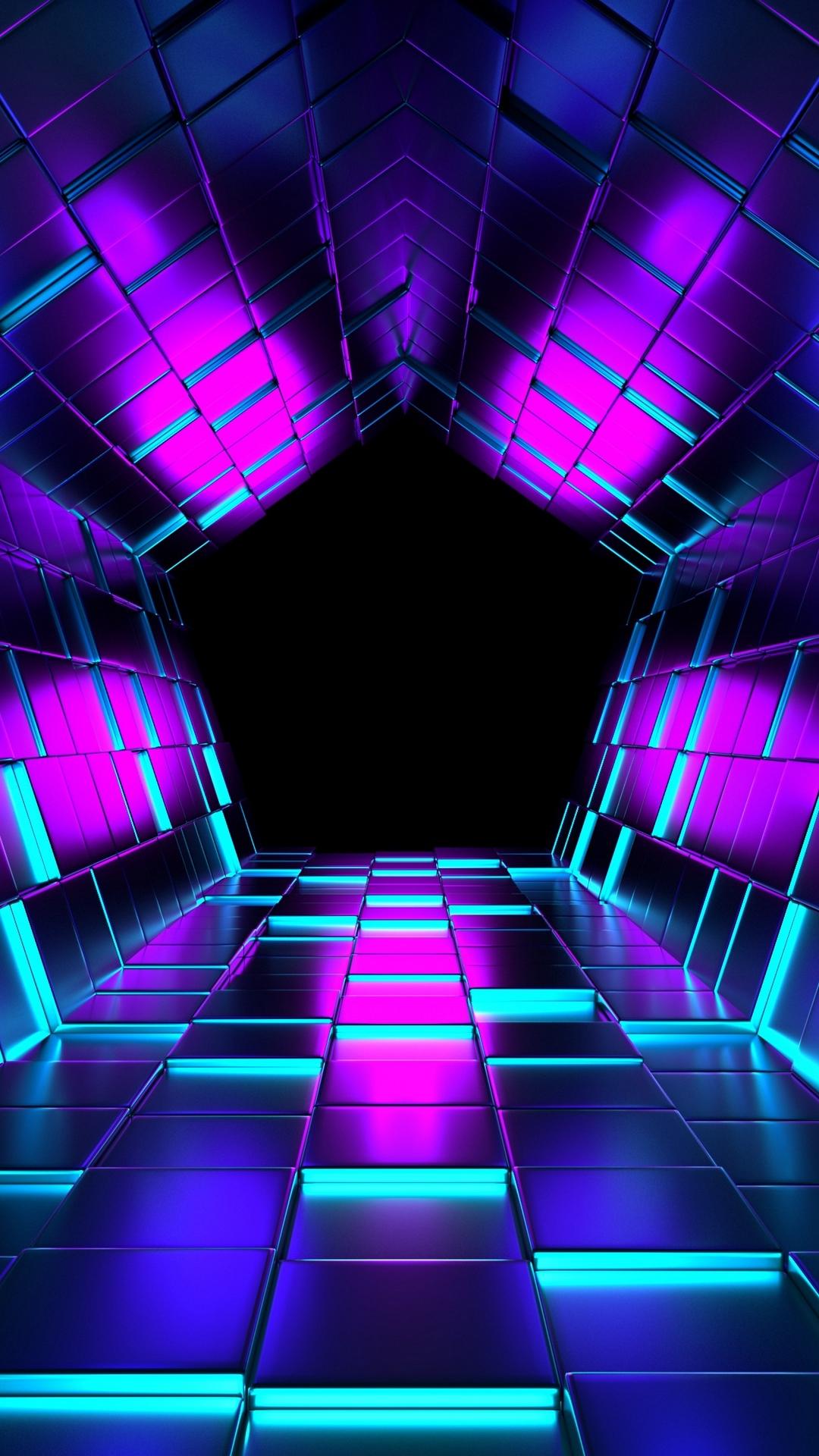 3D Ubes Rendering Tunnel HD Wallpaper - 1080x1920