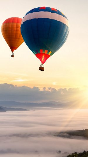 Balloon Airship Sky Flying Dawn Wallpaper 1080x1920 300x533 - Nature Wallpapers