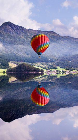 Balloon Mountain Lake Reflection Wallpaper 1080x1920 300x533 - Nature Wallpapers