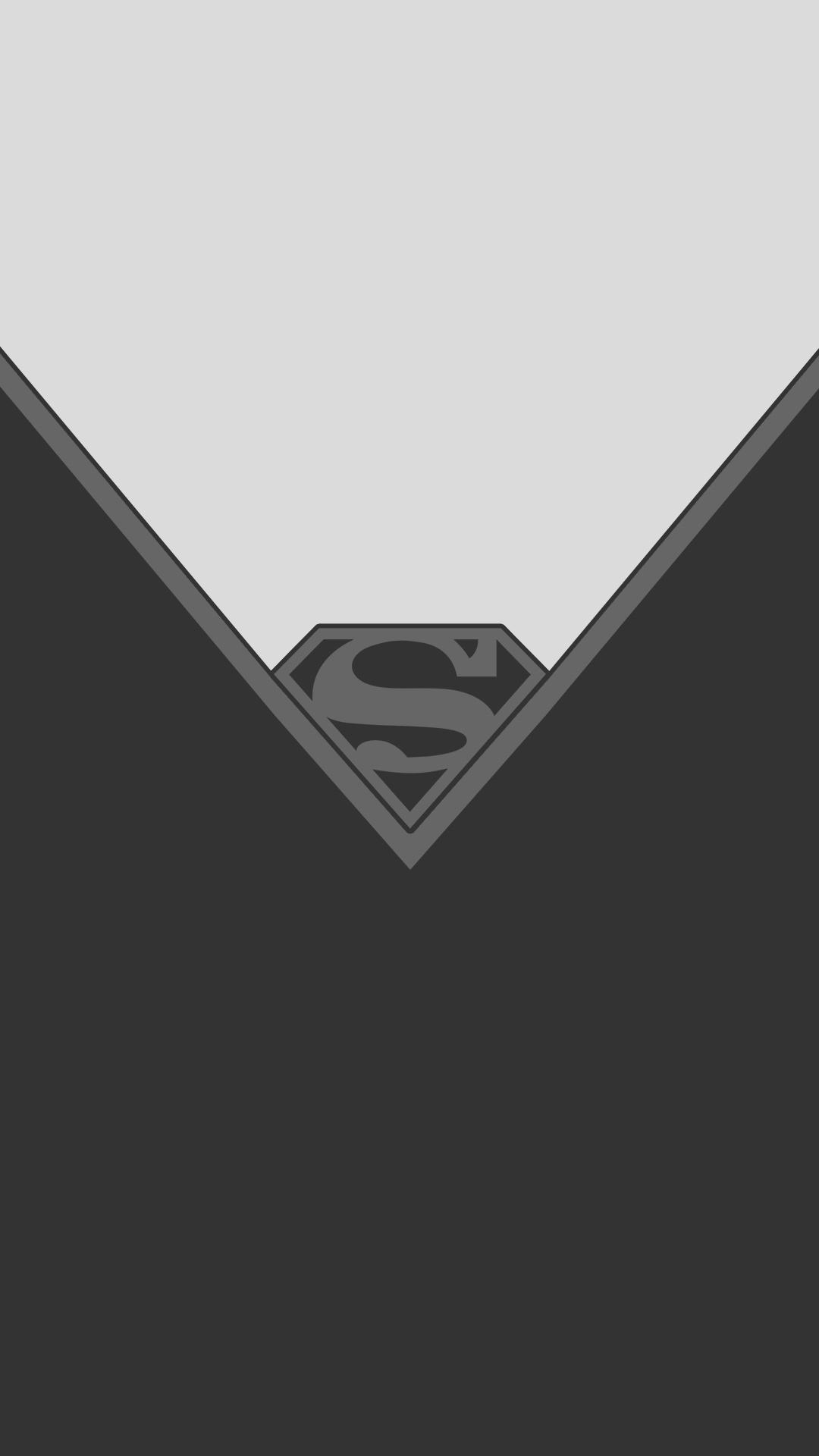 Black White Superman Minimal Wallpaper