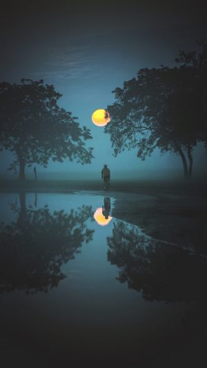 Cyclist Fog Moon Wallpaper 1080x1920 300x533 - Nature Wallpapers