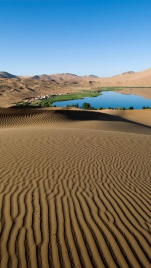 Desert Sand Patterns Lines Oasis Lake Coast Vegetation Wallpaper 1080x1920 300x533 - Nature Wallpapers