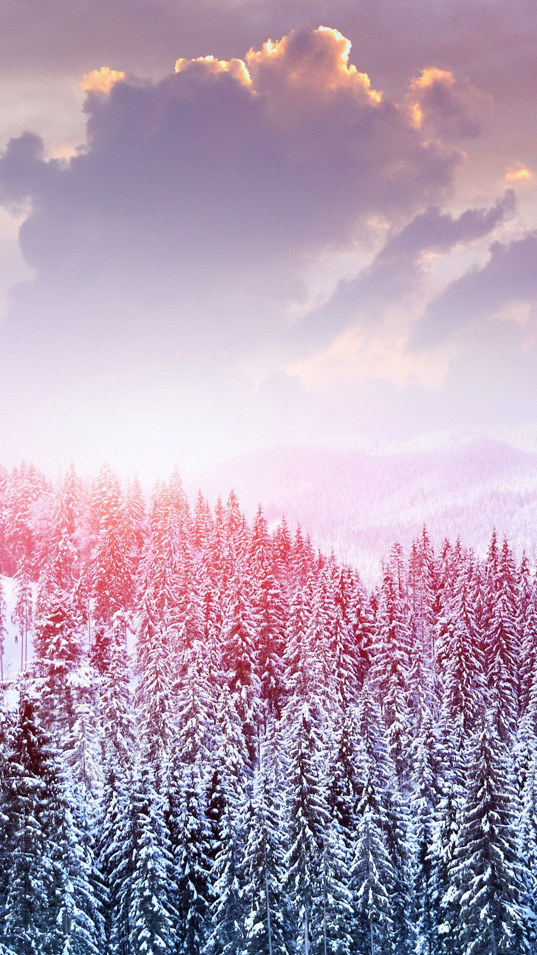 Landscape Winter Snow Trees Mountains Forest Sky Clouds