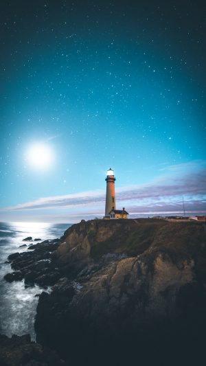 Lighthouse Starry Sky Wallpaper 1080x1920 300x533 - Nature Wallpapers