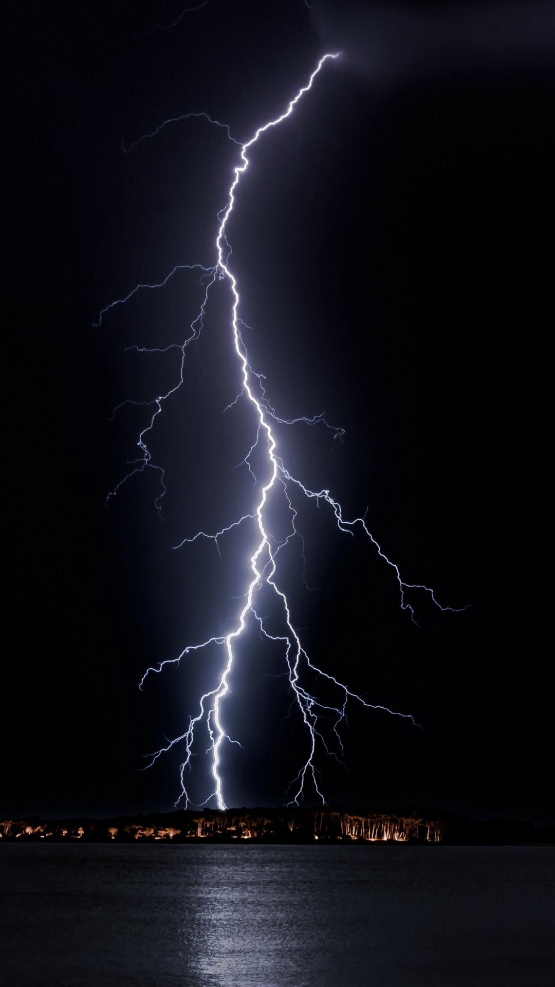 Lightning Night Horizon Wallpaper 1080x1920