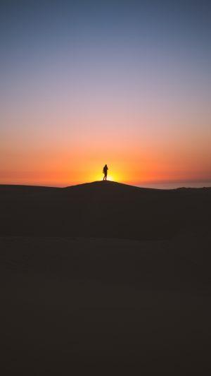 Man Silhouette Horizon Sky Sunset Wallpaper 1080x1920 300x533 - Nature Wallpapers