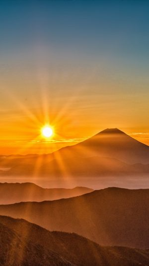 Mount Fuji Japan Sun Wallpaper 1080x1920 300x533 - Nature Wallpapers