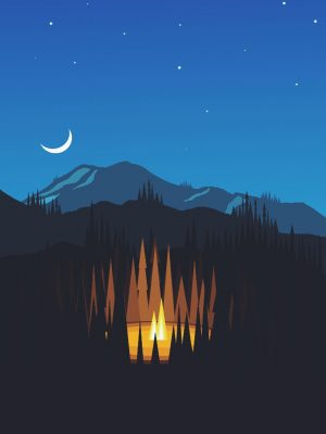 Night Mountain Minimal Background HD Wallpaper 300x400 - Night Minimal Background HD Wallpaper