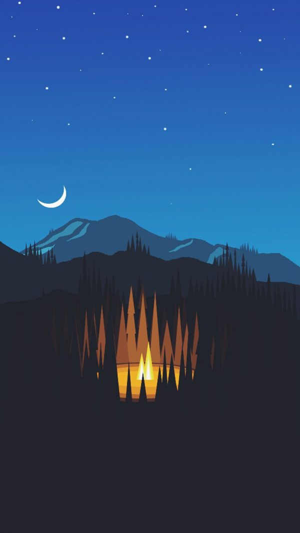 Night Mountain Minimal Background HD Wallpaper 600x1067 - Night Mountain Minimal Background HD Wallpaper