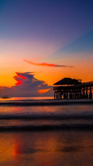 Pier Sunset Sea Wallpaper 1080x1920 300x533 - Nature Wallpapers