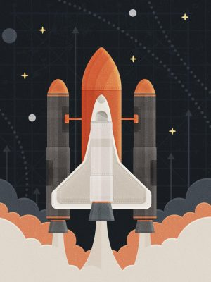 Rocket Minimal Background HD Wallpaper 300x400 - Rocket Space Minimal Background HD Wallpaper