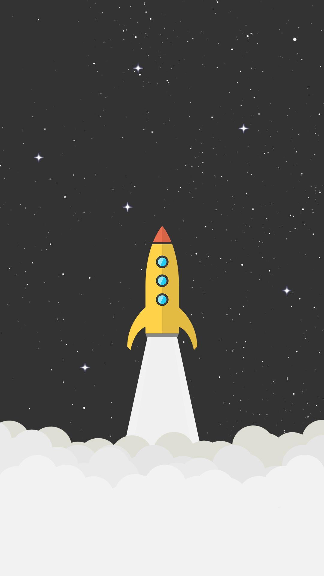 Rocket Space Minimal Background Hd Wallpaper