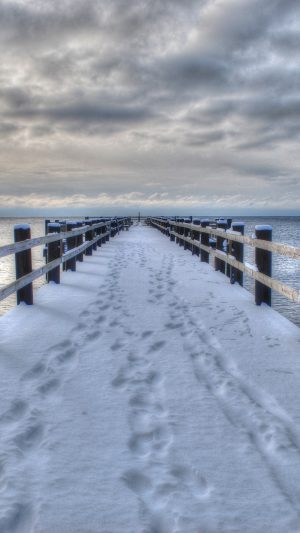 Sea Winter Bridge Landscape Wallpaper 1080x1920 300x533 - Nature Wallpapers