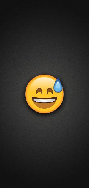 Smiling with Sweat Emoji Phone Wallpaper 300x633 - Emoji Wallpapers