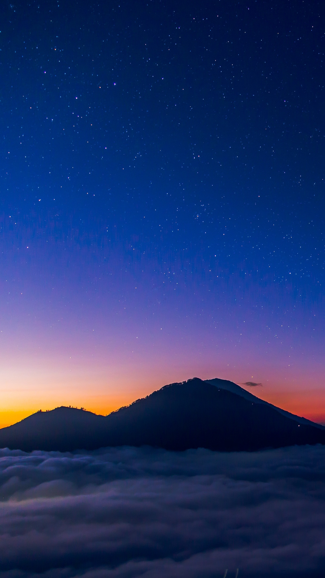Starry Sky Mountains Clouds Night Wallpaper 1080x1920