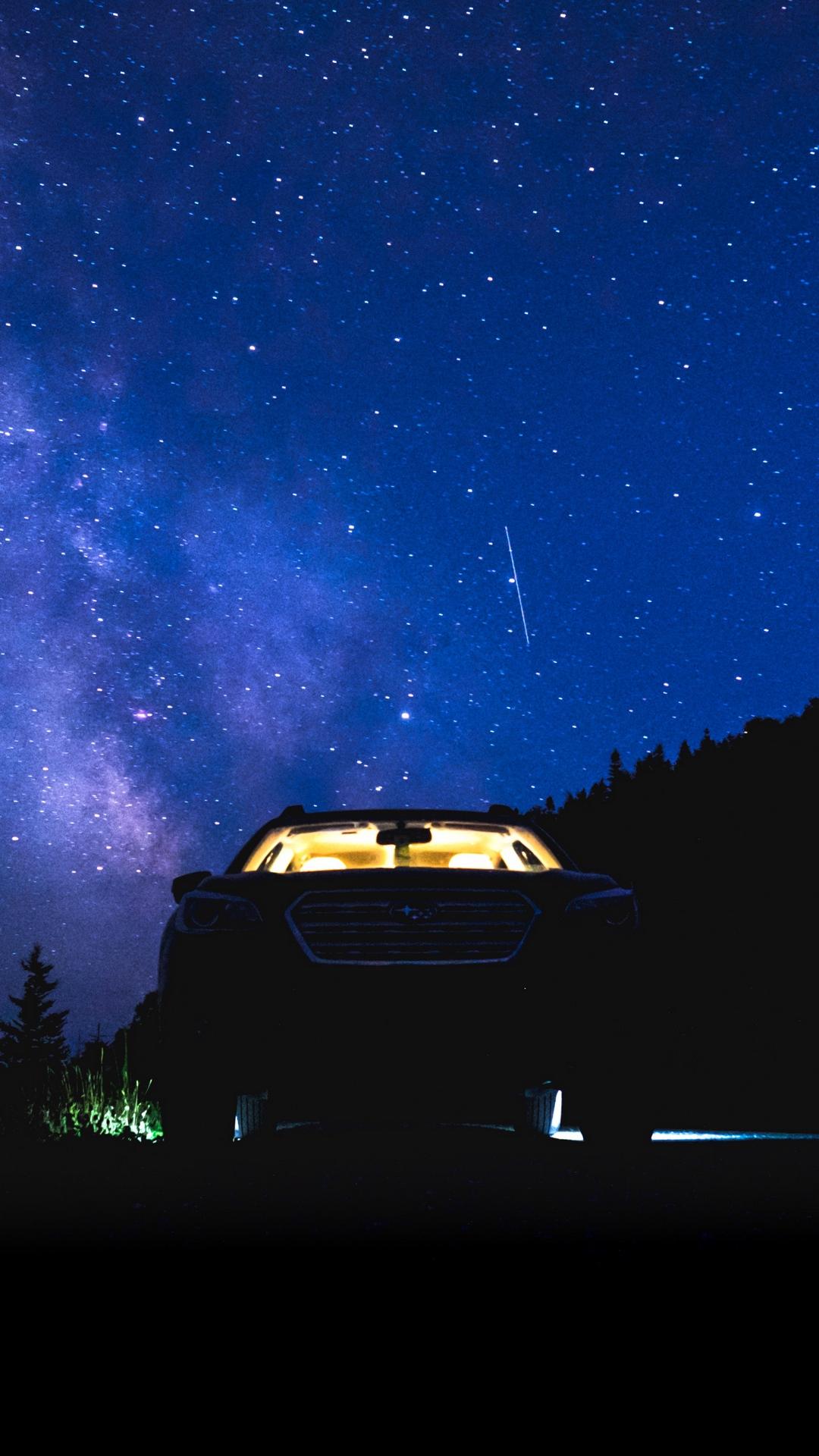 Starry Sky Night Car Wallpaper - 1080x1920