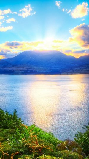 Sun Mountains Lake Greens Solarly Ripples Wallpaper 1080x1920 300x533 - Nature Wallpapers