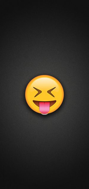 Tongue Out Emoji with Tightly Closed Eyes Phone Wallpaper