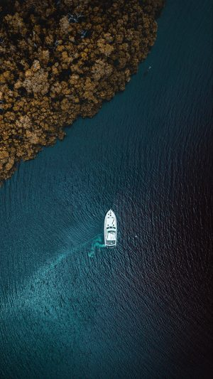 Yacht Sea Trees Shore View From Above Wallpaper 1080x1920 300x533 - Nature Wallpapers