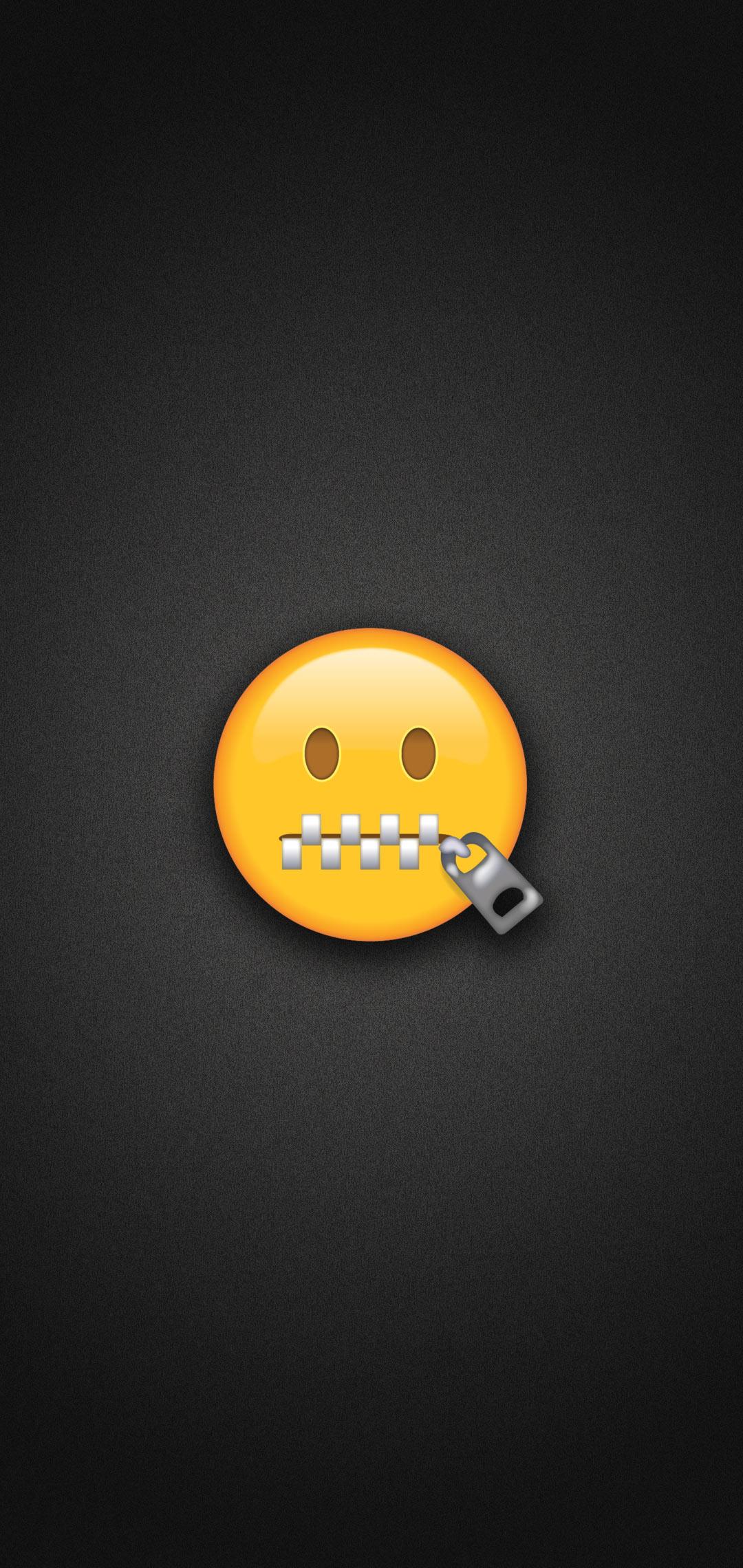 Zipper Mouth Face Emoji Phone Wallpaper